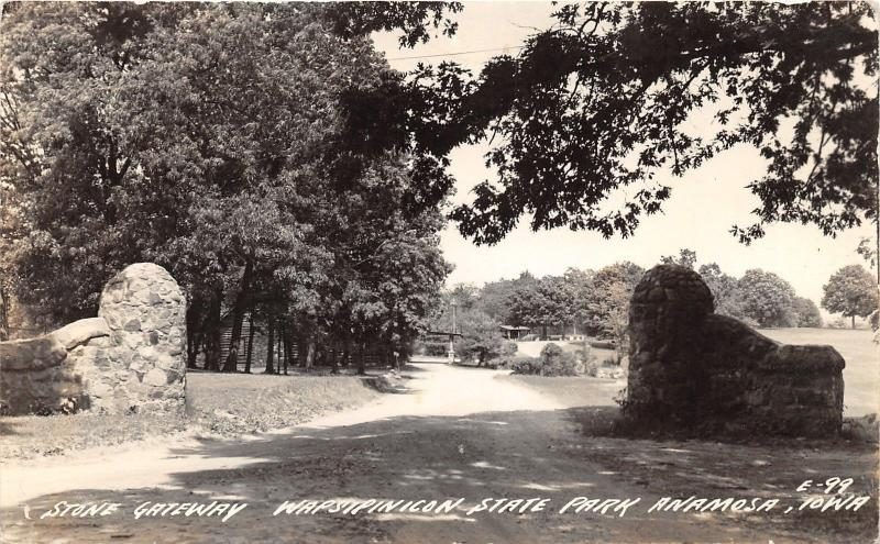 Anamosa Iowa~Wapsinicon State Park~Stone Gateway~Log Cabin in Bkgd~1940s RPPC