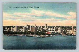 Miami FL-Florida, Aerial View Miami,Boats,Docks,Office Buildings, Linen Postcard