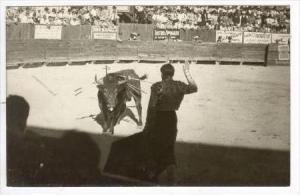 RP Bullfighter & bull in ring , Monterrey, Mexico, 30-40s