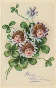 BEST WISHES; Embossed heads in shamrock flowers, PU-1910