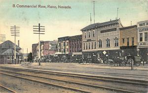 Reno NV Commercial Row Storefronts Horse & Wagons Railroad Station Postcard.
