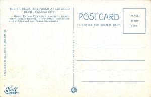 Kansas City Missouri~St Regis Hotel~Paseo at Linwood Blvd~1910 Hall Bros PC