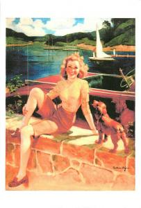 Repro postcard pinup pin up beauty & dog cocker