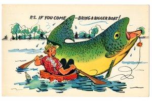 Oversize Cartoon, Fishing, Bigger Boat, Vintage Humour, 5 1/2  X 8 1/2  inch