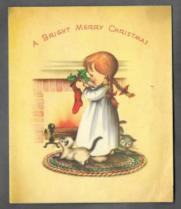VINTAGE 1940s WWII ERA Christmas Greeting Holiday Card GIRL Kittens Stocking