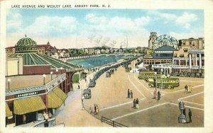 Asbury Park New Jersey Autos 1938 Lake Avenue Wesley Lake Postcard Tichnor 11571