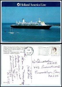 Vintage SHIP Postcard - Holland American Line ms Nieuw Amsterdam Cruise Ship B4
