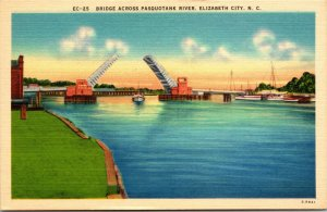 Bridge Across Pasquotank River ELIZABETH CITY NORTH CAROLINA NC Linen Postcard