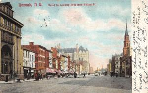 Newark New Jersey~Broad Street North @ William~Storefronts w Awnings~Church~1906