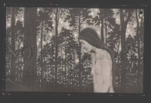 112281 ART NOUVEAU Semi-Nude WITCH Forest by FIDUS old Photo
