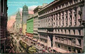 Vtg PNC Carte Postale 1910s Un Francisco Ca Market Rue Looking East De Quatrième