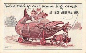 Big Ones LAKE WAUBESA, WI Fishing Comic Exaggeration 1911 Vintage Postcard