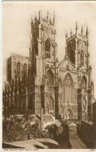 York Minster from North West, 1944 used real photo Postcard