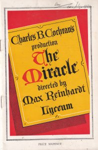 Engelbert Humperdinck Musical Max Reinhardt The Miracle Lyceum Theatre Programme