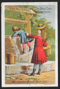 VICTORIAN TRADE CARDS (4) Masters Cake Soap Girl and Young Boy at Water Well