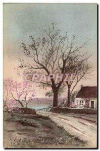 Postcard Old House Fantasy Tree