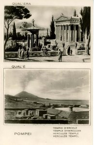 Italy -  Pompeii, Before & After. Hercules' Temple