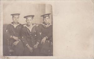 Sailors In Uniform Posing Real Photo