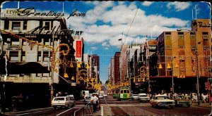 CE0856 australia melbourne victoria brouke street advertising old cars tramway