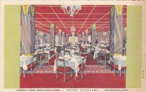 Massachusetts Springfield Hotel Highland Eregency Room Main Dining Room