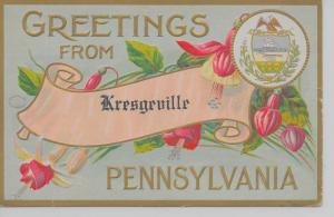 Kresgeville Pennsylvania Greetings From flowers banner antique pc Z24026