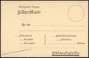 Germany Unused SW Africa DSWA BAVARIAN Military Feldpost Stationery Card 74218