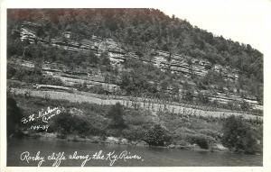 Kentucky~Rocky Cliffs Along River~1930s Real Photo Postcard~Nielsen RPPC