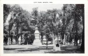 Sparta Wisconsin~City Park Cannon and Monument~1940s B&W Postcard