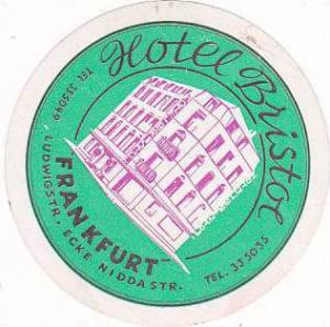 GERMANY FRANKFURT HOTEL BRISTOL VINTAGE LUGGAGE LABEL