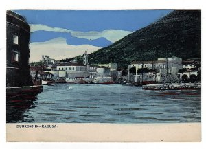 P1263 old unused art postcard view croatia dubrovnik city on adriatic sea