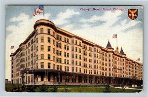 Chicago IL-Illinois, Chicago Beach Hotel, Front Entrance Vintage c1910 Postcard
