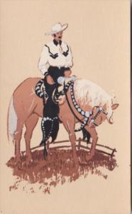 Cowboy On Horseback View Of Santa Barbara California Hand Made Original Serig...