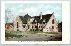 Denver Colorado~Plymouth Congregational Church~Neighborhood~c1908 Postcard