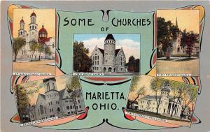 Ohio Postcard MARIETTA Washington County Old SOME CHURCHES 5View Fancy