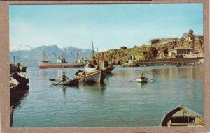P1339 vintage RPPC postcard unused harbor @ antalya turkey boats ship etc