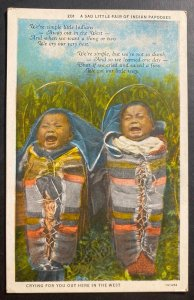 Mint USA Postcard Native American Sad Little Pair  Indian Papooses