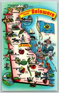 Postcard State of Delaware Map of Roadside Attractions