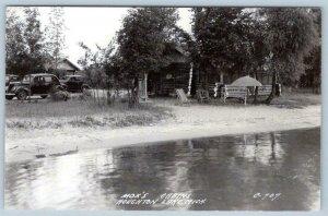 1930's-40's MOX'S CABINS ON HOUGHTON LAKE*MICHIGAN*RPPC*BEACH*OLD CARS*POSTCARD