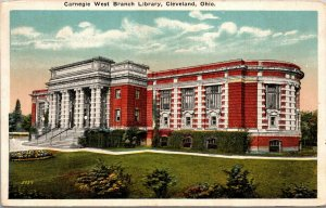 Carnegie West Branch Library, Cleveland, Ohio. White Border VINTAGE Postcard