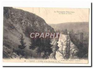 The Banks of lOrne Clecy Old Postcard L & # 39Orne and rocks of Vay