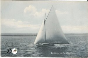 Yachting on The Pacific in Blue Gray tones Sailboat on Open Sea Newman Postcard