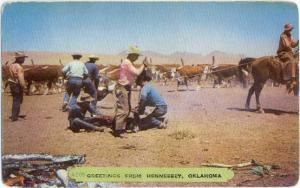 Cattle & Cowboys Greetings from Hennessey Oklahoma OK 1955