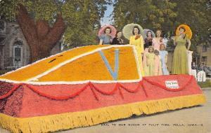 Pella Iowa~Tulip Time~Festival Queen Parade Float~Past & Future Girls~1940 Linen