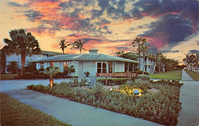 Naples-on-the-Gulf Florida~Beachcomber Club~Motel Apartments~Sunset Clouds~1960s