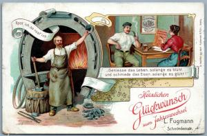 METAL SMITH ADVERTISING GERMAN 1907 ANTIQUE POSTCARD w/ STAMPS NEW YEAR GREETING