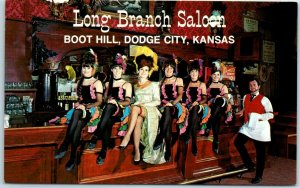 Dodge City, Kansas Postcard LONG BRANCH SALOON Girls Sitting on Bar 1960s Unused