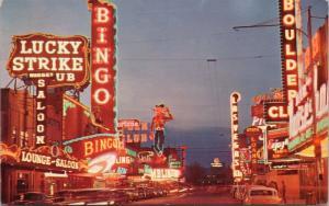 Las Vegas NV Freemont St. Lucky Strike Bingo Boulder Nugget Saloon Postcard E31