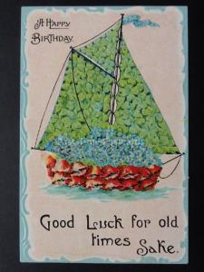 Embossed Birthday Poppies & Clover Postcard: GOOD LUCK FOR OLD TIMES SAKE c1912