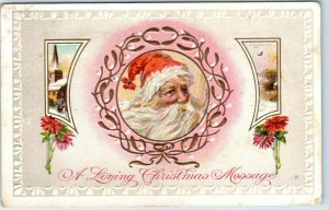 Vintage SANTA CLAUS Embossed Postcard A Loving Christmas Message 1911 Cancel