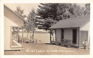 Lake Champlain Vermont Banks Cabins Real Photo Antique Postcard K91795